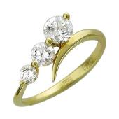 Кольцо с тремя фианитами, желтое золото