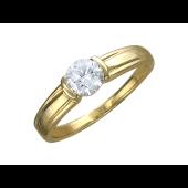 Кольцо с одним большим фианитом, желтое золото