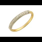 Кольцо узкая шинка, дорожкой фианитов, желтое золото
