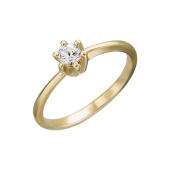 Кольцо с одним фианитом, желтое золото 585 пробы