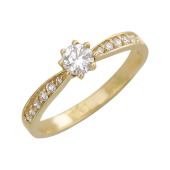 Кольцо с фианитами, желтое золото