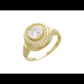 Кольцо перстень с фианитами, желтое золото