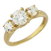 """Кольцо """"Нью-Йорк"""", Желтое золото, шинка узкая снизу, сверху три фианита бриллиантовой огранки"""