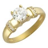 Кольцо Рим, желтое золото, шинка узкая снизу, сверху фианита бриллиантовой огранки