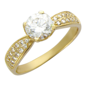 Кольцо Прага, желтое золото, шинка узкая снизу, сверху фианит бриллиантовой огранки