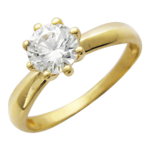 Кольцо Венеция, Желтое золото,шинка узкая снизу, сверху фианит бриллиантовой  огранки, крепящийся на восьми ножках
