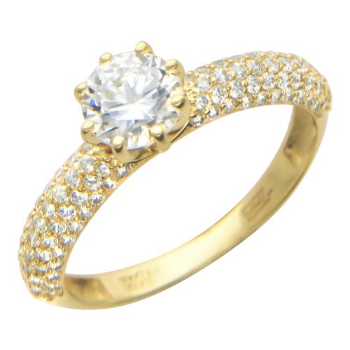Кольцо Милан, желтое золото, сверху фианит бриллиантовой  огранки