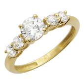 """Кольцо """"Калифорния"""", Желтое золото, сверху 5 фианитов бриллиантовой  огранки"""