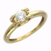"""Кольцо """"Вена"""", Желтое золото,сверху фианит бриллиантовой  огранки"""