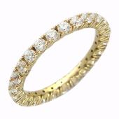 Кольцо узкое, сплошная дорожка с фианитами, желтое золото 585 проба