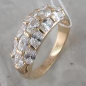 Кольцо с овальными фианитами из желтого золота
