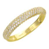 Кольцо Дорожка с россыпью фианитов из желтого золота 585 пробы