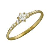 Кольцо с фианитами и большим фианитом в центре, желтое золото