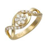 Кольцо Малинки с фианитами из желтого золота