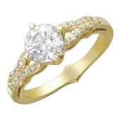 Кольцо, желтое золото, крупный круглый фианит, россыпь фианитов