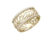 Кольцо, желтое золото, широкая шинка, прожилки в виде листьев, окантовка из фианитов