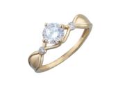 Кольцо Витраж с большим фианитом бриллиантовой огранки, желтое золото