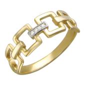 Кольцо, якорные звенья с фианитами, желтое золото 585 проба