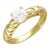 Кольцо, один крупный фианит, тигровые вырезы по шинке, желтое золото