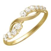Кольцо Бесконечность с фианитами, желтое золото 585 проба