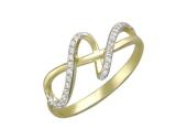 Кольцо Лента (восьмерка) с фианитами, желтое золото