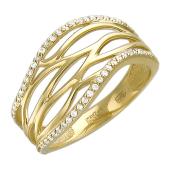 Кольцо Волны с фианитами, желтое золото