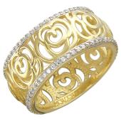 Кольцо округлое Розы с фианитами по краям, желтое золото