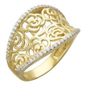 Кольцо вогнутое Розы с фианитами по краям, желтое золото