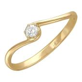 Кольцо Солитер с одним фианитом, желтое золото