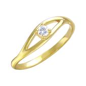 Кольцо с одним фианитом в изогнутых линиях из желтого золота
