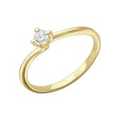 Кольцо Солитер с фианитом, желтое золото