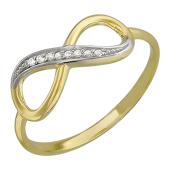 Кольцо Бесконечность с фианитами, желтое золото
