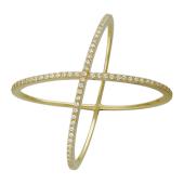 Кольцо Вселенная, фианиты, желтое золото