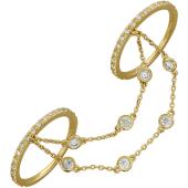 Кольца для рук с браслетами Панье, фианиты, желтое золото