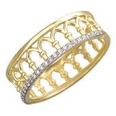 Кольцо Европа с фианитами, желтое золото