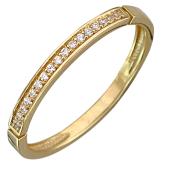 Кольцо с дорожкой фианитов, желтое золото