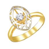 Кольцо с танцующим фианитом Impulse, желтое золота 585 пробы