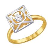 Кольцо Impulse с танцующим фианитом из желтого золота