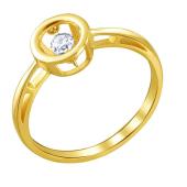 Кольцо с танцующим фианитом из желтого золота 585 пробы