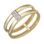 Кольцо двойное с дорожкой фианитов, желтое золото