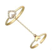 Кольцо двойное Сердце с фианитами, желтое золото