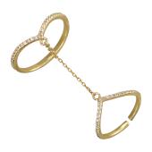 Кольцо восточное двойное с цепочкой, фианиты, желтое золото