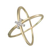 Кольцо Вселенная с крестиком из фианитов, желтое золото