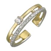 Кольцо Дорожка на фалангу с  фианитами, желтое золото