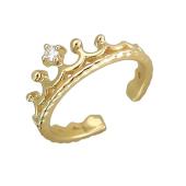 Кольцо Корона с фианитом, желтое золото