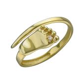 Кольцо открытое Пяточка Младенца с фианитом из желтого золота