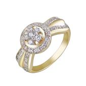 Кольцо с фианитами из желтого золота