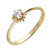 Кольцо с одним фианитом из желтого золота