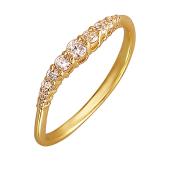 Кольцо Дорожка с фианитами, желтое золото