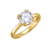 Кольцо с одним фианитом из желтого золота 585 пробы